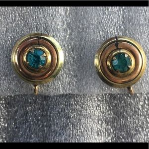 Vintage Art Deco Gold Filled Aqua Earrings